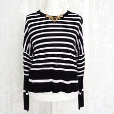 M&S Jumper 22 24 Women NEW Stripe Long Sleeve Black Top Nautical Casual £25 NWT