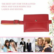 Double Layers Women Small Waist Bag PU Leather Ladies Mobile Phone Pouch Bag A