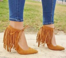 ZARA WHISKY BROWN SUEDE LEATHER FRINGED HIGH HEEL SHOES  SIZE UK 4 EU 37 USA 6,5