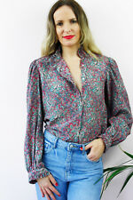 Vintage 80's Retro Paisley Print Pleated Collar Button Up Shirt Blouse Top