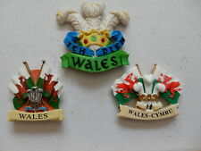 One 3D Souvenir Fridge Magnet from Wales Welsh Flags or Plume of Feathers