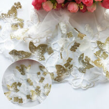 1 Yard Embroidered Flower Butterfly Lace Trim Mesh Wedding Sewing DIY Craft