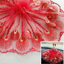 Embroidered Lace Mesh Peacock Sewing Trim Fabric Wedding Dress By The Yard