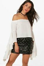 Boohoo Womens Woven Frill Sleeve Off The Shoulder Top
