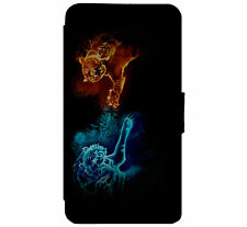 Neon tiger fight Leather Flip Phone Case Cover Wallet D64