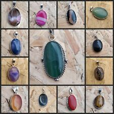 925 Solid Sterling Silver Polished Gemstone Necklace Pendant Women Jewellery