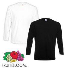Fruit Of The Loom MEN'S LONG SLEEVE T-SHIRT SLEEVES PREMIUM COTTON PLAIN TOP NEW