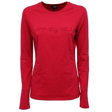 0954W maglia donna ARMANI JEANS red cotton embroidered t-shirt woman