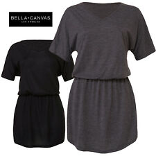 Bella+Canvas Ladies Flowy V-Neck Cinched Waist Relaxed Fit Everyday Comfy Dress