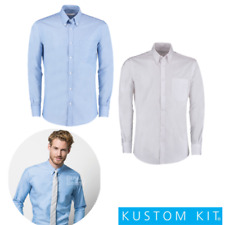 Kustom Kit Formal Camisa Oxford ELEGANTE CUELLO ALTO Entallado Manga Larga