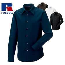 Russell Mens Long Sleeve Tencel Fitted Smart Button Down Business Work Shirt New