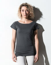 NAKEDSHIRT LADIES TOP 100% SOFT COTTON T-SHIRT WIDE ROUND NECK CAP SLEEVES TEE