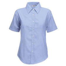 Fruit of the Loom Ladies Fit Short Sleeve Button Up Workwear Business Shirt New