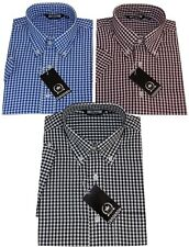 Mens Gingham Short Sleeved Black Burgundy Blue Button Down Collar Relco Shirt