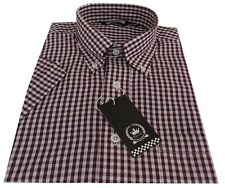 Relco Men's Burgundy Gingham Short Sleeved Button Down Collar Mod Skins Shirt