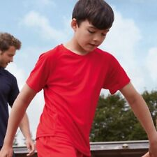 FRUIT OF THE LOOM bambini Performance T-Shirt Poliestere Activewear SPORT NUOVO
