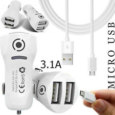 MICRO USB FAST CHARGING SYNC DATA CABLE + 3.1A DUAL USB IN CAR CHARGING ADAPTER