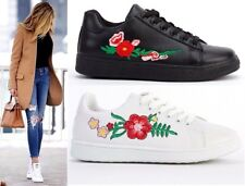 Womens Black White Flats Lace Up Low Top Pumps Floral Embroidered Trainers Shoes