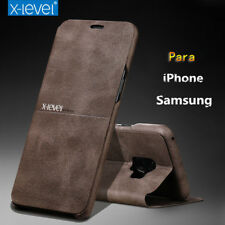 X-Level Flip Stand Leather Case Para Samsung S8 S9+ iPhone X 8 7 Plus Slim Cover