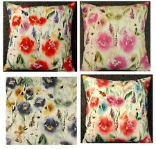 Floral Cushion Covers Chess Jazz Denim blue Peony pink 12 16 18 19''  Cotton  BN