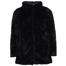 E7248 piumino donna SAVE THE DUCK black double face ecofur jacket woman