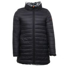 E7252 piumino donna SAVE THE DUCK black double face ecofur jacket woman