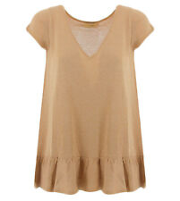 Scee Twinset camiseta beige y lurex SS83ED para mujer Scee by Twin set SS83EDCOR