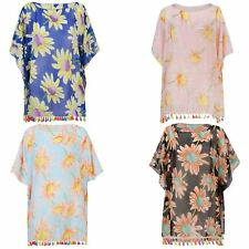 Women Beach Cover Up Summer Light Kaftan Colourful Fringe Ladies Sarong One Size
