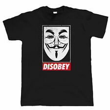 Anonymous Mask Mens T Shirt - V for Vendetta Conspiracy Disobey