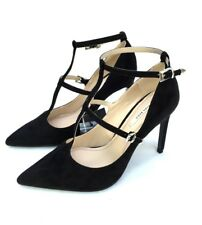 ZARA BLACK SUEDE EFFECT ANKLE STRAP HIGH HEEL POINTED SHOES  SIZE UK 6 EU 39