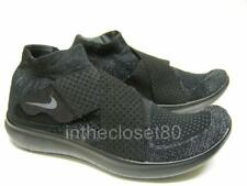 Nike Free Run Motion Flyknit Black Grey Mens Running Trainers 880845 003
