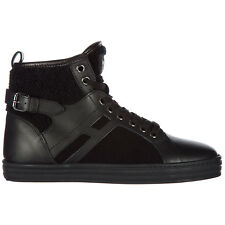 HOGAN REBEL SCARPE SNEAKERS ALTE DONNA IN PELLE NUOVE R182 MID CUT NERO 669
