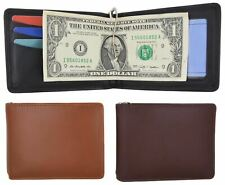 Moga Mens Genuine Leather Slim Money Clip Credit Card Holder Bifold Wallet