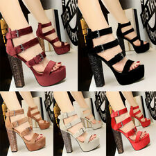Women's Suede Block Ankle Strappy Sandals Buckle Open-Toe Sexy High Heels Shoes