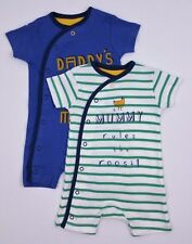 Baby Boys Mothercare 2 Pack Shorts Rompers/Playsuits 0-3, 3-6 & 9-12 Mths BNWT