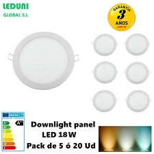 Downlight Panel LED Redonda 20W Packs 2/3/5/10/20 Luz Fría/Neutra 6000K/4000K