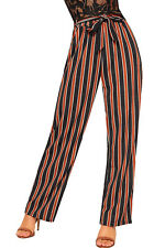 Womens Striped Print High Waisted Palazzo Trousers Ladies Wide Leg Belted Pants