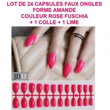 LOT 24 CAPSULES TIPS FAUX ONGLE AMANDE ROSE GEL UV VERNIS COLLE LIME ONG115
