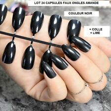 LOT 24 CAPSULES TIPS FAUX ONGLE AMANDE NOIR GEL UV VERNIS COLLE LIME ONG096