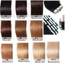 10-20-30-40 EXTENSIONS TAPE BANDES ADHESIVES CHEVEUX NATURELS REMY HAIR 49-60 C