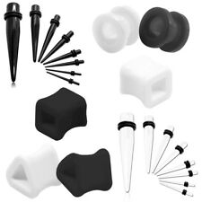 Flesh Tunnel Plug Piercing Bianco Nero Quadrato Triangolare 2 3 4 5 6 8 10mm/Set