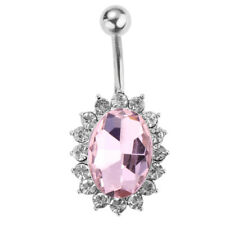 Oval Crystal Belly Ring Stainless Steel Navel Belly Button Bar Body Piercing