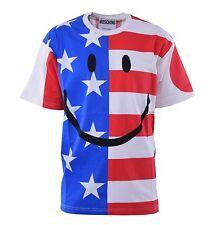 MOSCHINO COUTURE Smiley T SHIRT CON USA UK BANDIERA STAMPA COTONE 04461