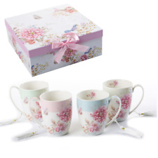 Large Tea Coffee Cup Mug Set 4 Porcelain Rose Bird Shabby Chic Gift Box 330ML
