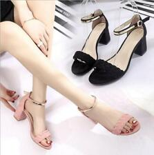 Women Suede Open Toe Braid Ankle Strap Block Mid Heel Sandals Casual Comfy Shoes