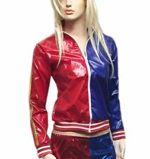 Ladies PVC Wet Look Red Blue Zipper Jacket Womens Fancy Long Sleeve Party Outfit