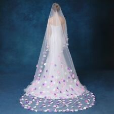 Ivoire Long Mariage voile floral Cathedral Tulle Strass Nuptial voiles mariage