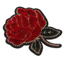 Red Rose Flower (Iron On) Embroidery Applique Patch Sew Iron on Jeans Badge