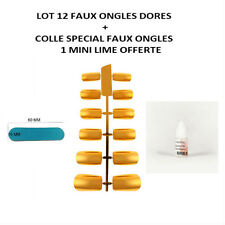 LOT 12 CAPSULES TIPS NATUREL FAUX ONGLE DORE OR GEL UV VERNIS + COLLE ONG050