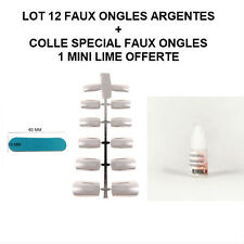 LOT 12 CAPSULES TIPS NATUREL FAUX ONGLE ARGENT GEL UV VERNIS + COLLE ONG051